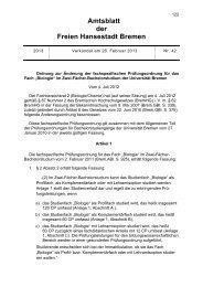 Amtsblatt der Freien Hansestadt Bremen - Senatskanzlei - Bremen