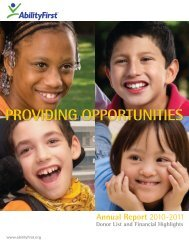 PROVIDING OPPORTUNITIES - AbilityFirst