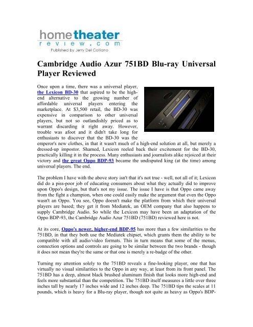 Cambridge Audio Azur 751BD Blu-ray Universal Player Reviewed