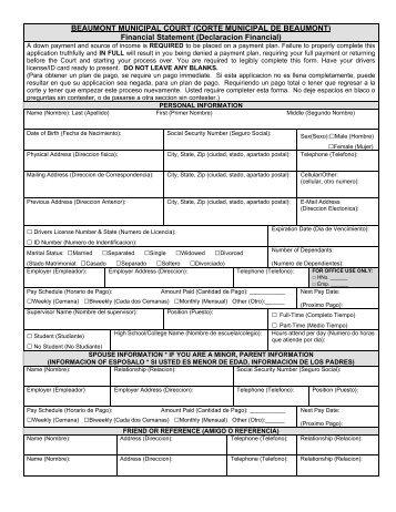 Financial Statement (Declaracion Financial) - City of Beaumont