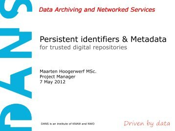 Persistent identifiers & Metadata for trusted digital ... - RatSWD