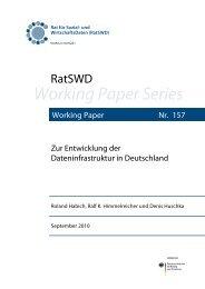 Zur Entwicklung der Dateninfrastruktur in Deutschland - RatSWD