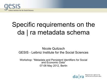 Specific requirements on the da | ra metadata schema - RatSWD