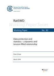 Data protection and statistics - a dynamic and tension ... - RatSWD