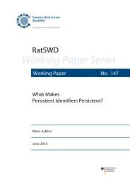 What Makes Persistent Identifiers Persistent? - RatSWD