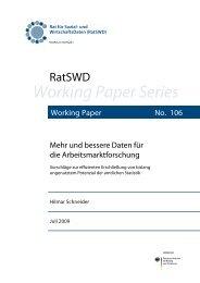 Mehr und bessere Daten für die Arbeitsmarktforschung ... - RatSWD