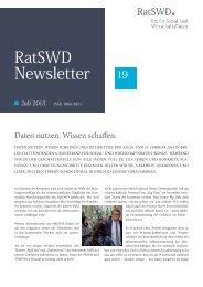 RatSWD Newsletter Nr. 19 - Juli 2013