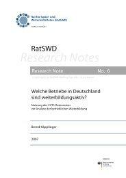 Welche Betriebe in Deutschland sind weiterbildungsaktiv? - RatSWD