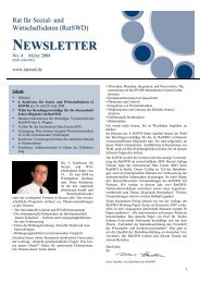 RatSWD Newsletter Nr. 4 - März 2008