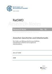 Working Paper - RatSWD
