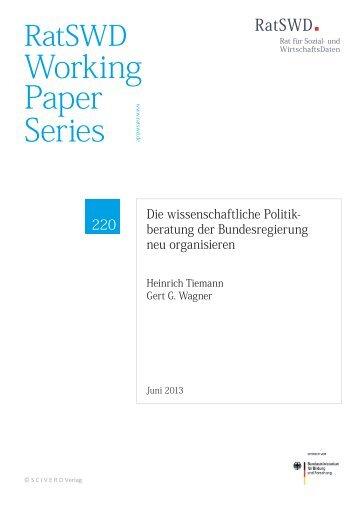 Die wissenschaftliche Politikberatung der ... - RatSWD