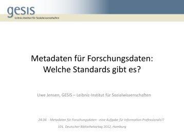 Metadaten für Forschungsdaten: Welche Standards ... - OPUS Bayern