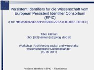 European Persistent Identifier Consortium - RatSWD