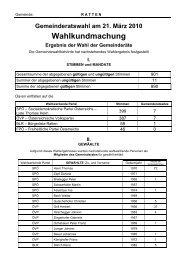 Gemeinderatswahl 21. März 2010 - Ratten