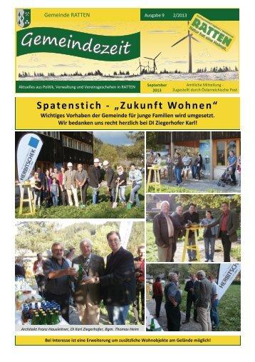 """Spatenstich - """"Zukunft Wohnen"""" - Ratten"""