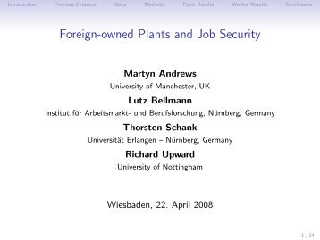 Foreign-owned Plants and Job Security - RatSWD