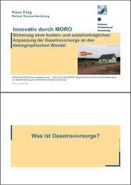Innovativ durch MORO Was ist Daseinsvorsorge? - Institut Raum ...
