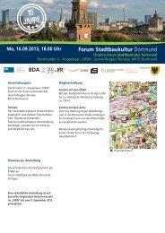 10 Jahre Forum StadtBauKultur Dortmund - Fakultät Raumplanung