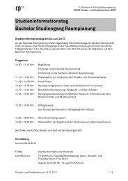 Programm - Fakultät Raumplanung - TU Dortmund