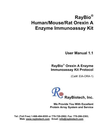 Orexin A Enzyme Immunoassay Kit Protocol - RayBiotech