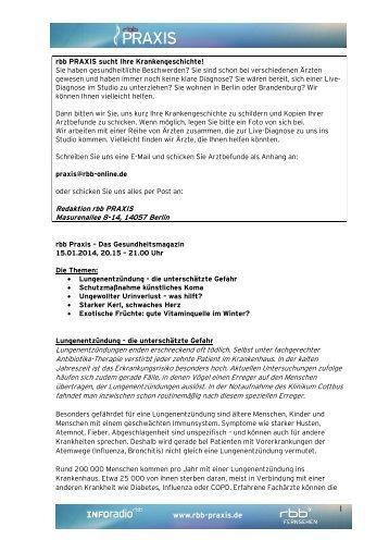 Infoblatt vom 15.01.2014 - RBB