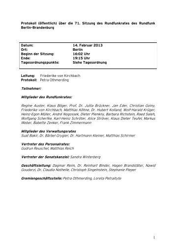 Teilnehmer: Mitglieder des Rundfunkrates: Regine Auster ... - RBB