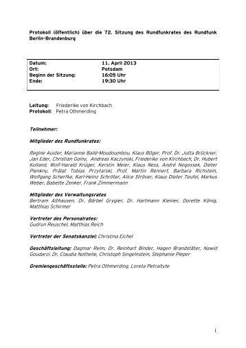 72. Rundfunkratssitzung am 11.04.2013 - RBB