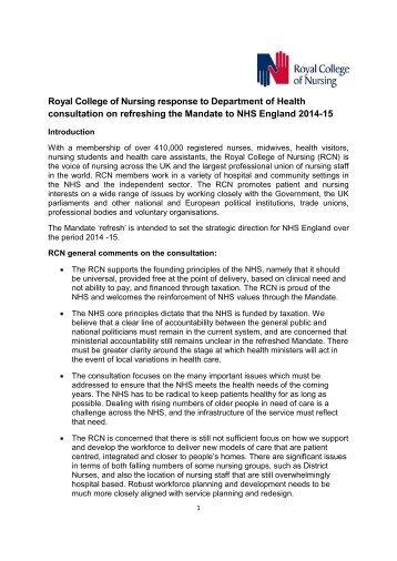 RCN response to refreshing the NHS mandate (PDF 364.6KB)