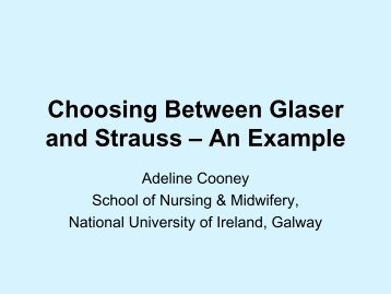Choosing Between Glaser and Strauss – An Example