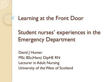 Learning at the front door - Royal College of Nursing