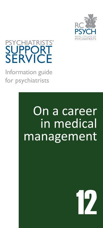 On a career in medical management - Royal College of Psychiatrists