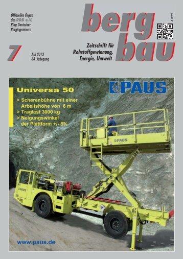 berg bau Zeitschrift für Rohstoffgewinnung, Energie, Umwelt - RDB eV