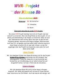 WVR-Projekt der Klasse 8b im Schuljahr 2007/2008 - Realschule ...