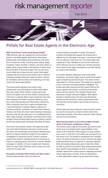 Pitfalls for Real Estate Agents in the Electronic Age - National ...