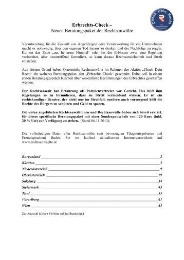 Erbrechts-Check – Neues Beratungspaket der Rechtsanwälte