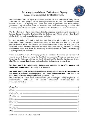 Beratungsgespräch zur Patientenverfügung Neues Beratungspaket ...