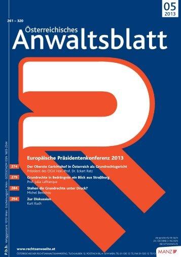 AnwBl_2013-05_Umschlag 1..4 - Österreichischer ...