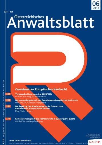 AnwBl_2013-06_Umschlag 1..4 - Österreichischer ...