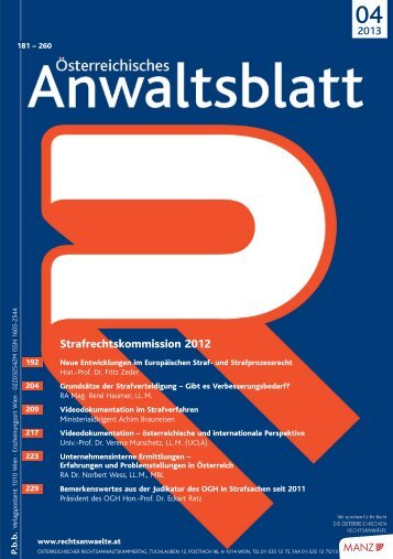 AnwBl_2013-04_Umschlag 1..4 - Österreichischer ...