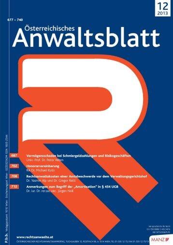 AnwBl_2013-12_Umschlag 1..4 - Österreichischer ...