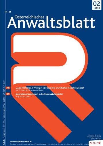 AnwBl_2013-02 43..98 - Österreichischer Rechtsanwaltskammertag