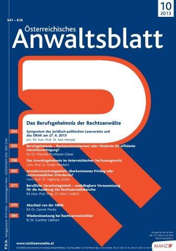 AnwBl_2013-10_Umschlag 1..4 - Österreichischer ...