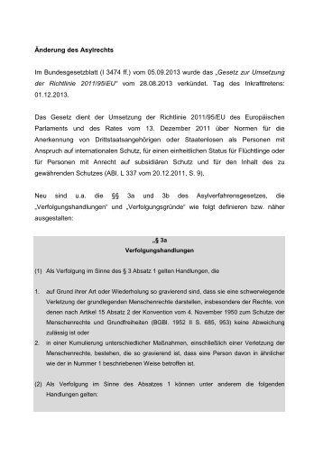 Änderung des Asylrechts Im Bundesgesetzblatt (I 3474 ff.) vom ...