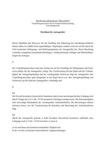 Merkblatt Verwaltungsrecht - Rechtsanwaltskammer Düsseldorf