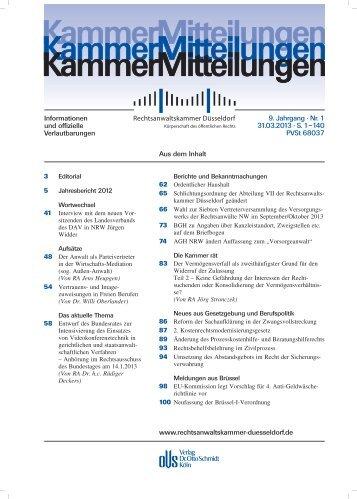 KammerMitteilungen 1/2013 - Rechtsanwaltskammer Düsseldorf