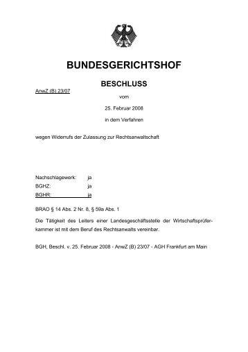 BGH, Beschluss vom 25.02.2008 – AnwZ (B)