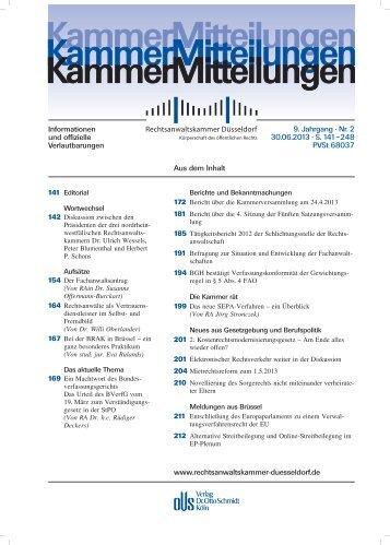 KammerMitteilungen 2/2013 - Rechtsanwaltskammer Düsseldorf