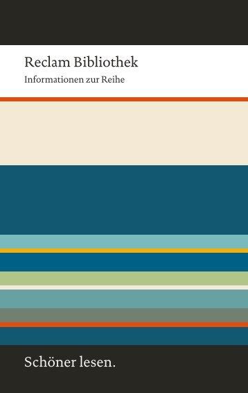 Reclam Bibliothek | Informationen zur Reihe