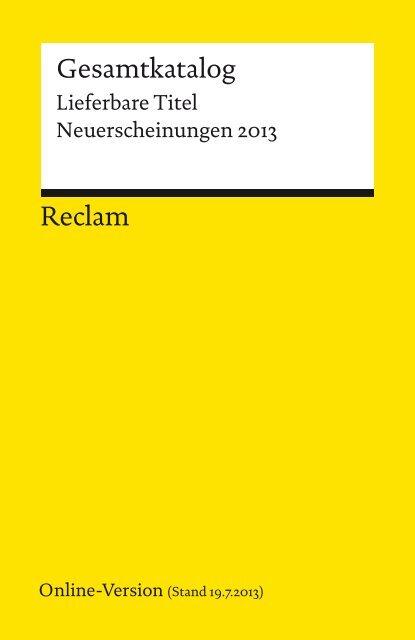 Reclam Gesamtkatalog Lieferbare Titel Neuerscheinungen 2013