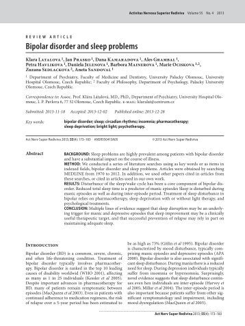 Bipolar disorder research paper titles
